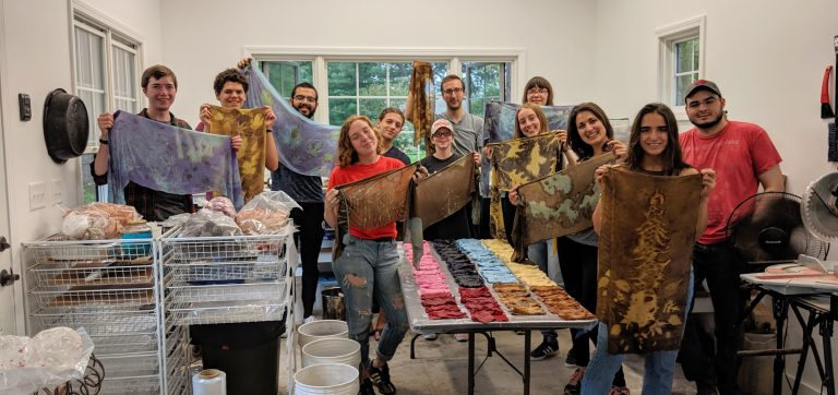 A group of AnthroCircle members posing with their freshly hand-dyed scarves